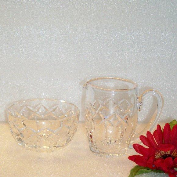 WATERFORD Crystal Sugar Bowl & Creamer LISMORE